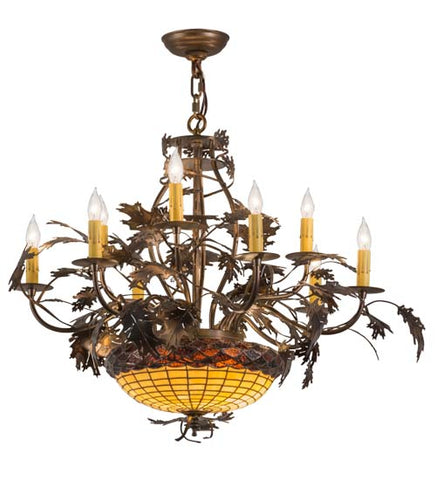 "34""W Greenbriar Oak 9 Arm Lodge Chandelier"