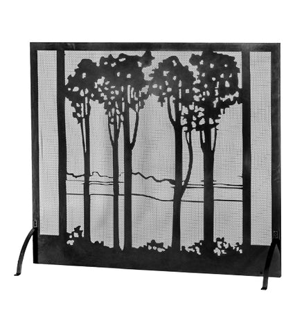 "55""W X 48""H Tall Poplars Lodge Metal Fireplace Screen"