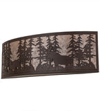 "36""W Tall Pines Wildlife Bear & Moose Wall Sconce"
