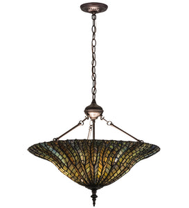 "24""W Tiffany Lotus Leaf Inverted Pendant 