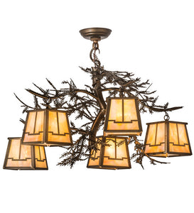 "29""W Pine Branch Valley View 5 Lt Rustic Chandelier"