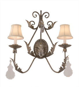 "21""W French Elegance 2 Lt Victorian Glam Wall Sconce"