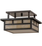 "12""Sq Hyde Park Double Bar Mission Outdoor Flushmount"