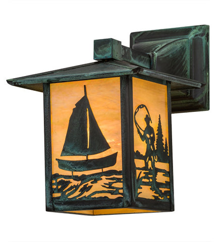 "7""W Seneca Sailboat & Fly Fisherman Solid Mount Outdoor Wall Sconce"