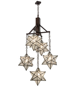 30 W Moravian Star 5 Lt Chandelier Add A Touch Of Elegance Shop Order Smashing Stained Glass Lighting