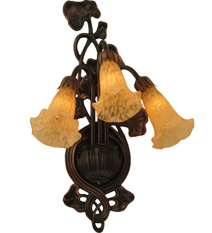 "10.5""W Amber Pond Lily 3 Lt Wall Sconce"