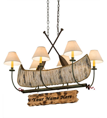 "36""L Personalized Canoe 6 Lt Chandelier"
