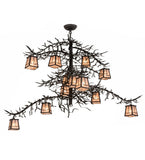 "48""W Pine Branch Valley View 12 Lt Arts & Crafts Chandelier"