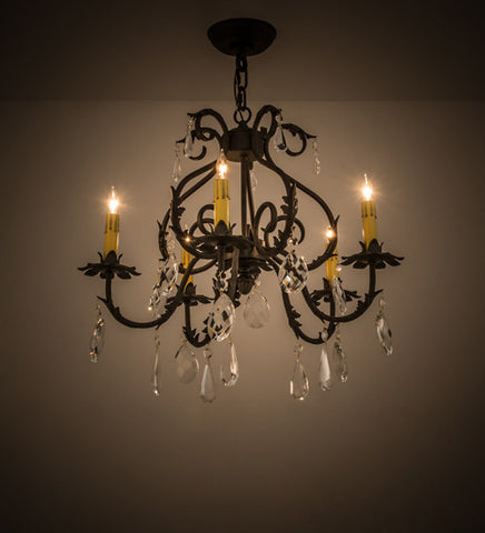 "24""W Chantilly 5 Lt Victorian Chandelier"