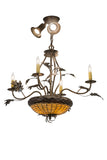 "30""W Tiffany Greenbriar Oak 4 Lt Mission Chandelier"