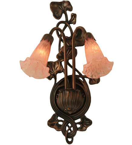 "11""W Pink Pond Lily 2 Lt Wall Sconce"