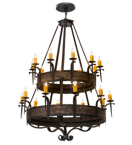 "56""W Gothic Costello 20 Lt Two Tier Rustic Chandelier"