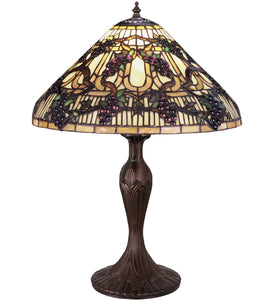 "22""H Jeweled Grape Stained Glass Table Lamp"