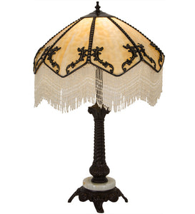 "19""W Regina Fringed Victorian Table Lamp"