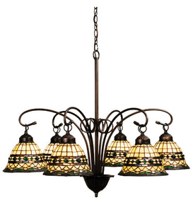 "31""W Tiffany Roman 6 Lt Chandelier 