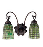"14.5""W Terra Verde 2 Lt Tiffany Mission Arts & Crafts Wall Sconce"