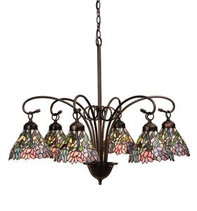 "30""W Stained Glass Wisteria 6 Lt Chandelier"