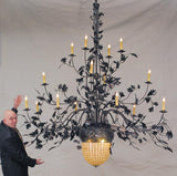 "100""W Greenbriar Oak 16 Arm Tiffany Lodge Chandelier"