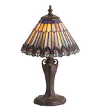 "13""H Tiffany Jeweled Peacock Accent Lamp"