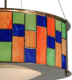"22""W Utopia Nexus Stained Glass Contemporary Pendant"