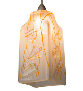 "4""Sq Metro Fusion Orange Taffy Draped Contemporary Mini Pendant"