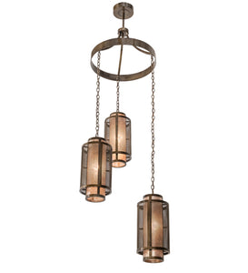 "32""W Cilindro Weave-Tex Cascading Industrial Chandelier"