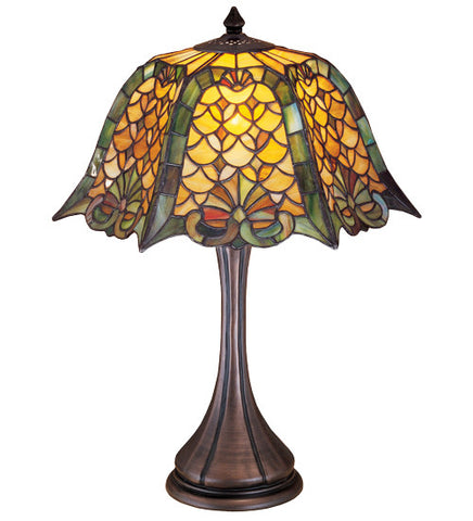 "21""H D & K Shell & Diamond Tiffany Table Lamp"
