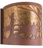"15""W Bear at Lake Wildlife Wall Sconce"
