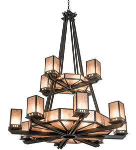 "58""W Avondale 10 Arm Two Tier Mission Chandelier"