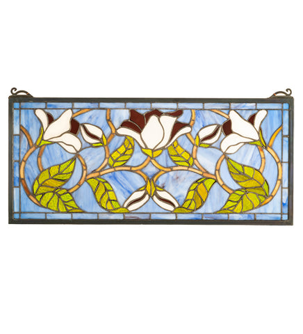 "25""W X 11""H Magnolia Floral Stained Glass Window"
