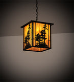 "12""Sq Tall Pines Lantern Outdoor Pendant"