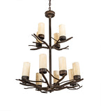 "30""W Winter Solstice 12 Lt Lodge Chandelier"