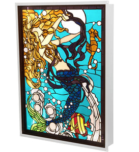"22""W X 29""H Mermaid of the Sea LED Backlit Window"