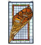 "15""W X 25""H Guideboat Stained Glass Nautical Lodge Window"