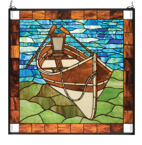 "26""W X 26""H Beached Guideboat Stained Glass Window"