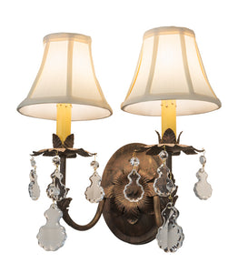 "14""W Chantilly Victorian Glam 2 Lt Wall Sconce"
