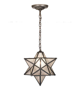 "12""W Moravian Star Clear Seeded Pendant"