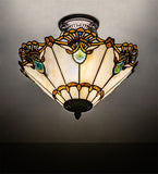 "16""W Shell with Jewels Stained Glass Semi-Flushmount"