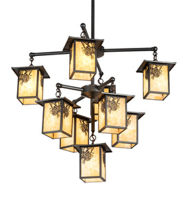 "34""W Seneca Winter Pine 9 Lt Chandelier"