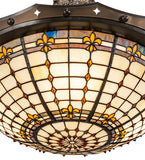 "26""W Fleur-de-Lite Stained Glass Semi-Flushmount"