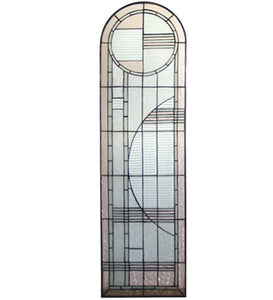 "15""W X 54""H Arc Deco Left Sided Stained Glass Window"
