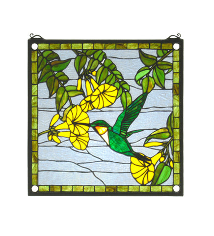 "17""W X 17""H Hummingbird Stained Glass Window"