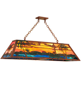 "48""L Swamp Rustic Lodge Island/Billiard Pendant 