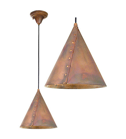 "10""W Cone Rivet Contemporary Rustic Pendant"