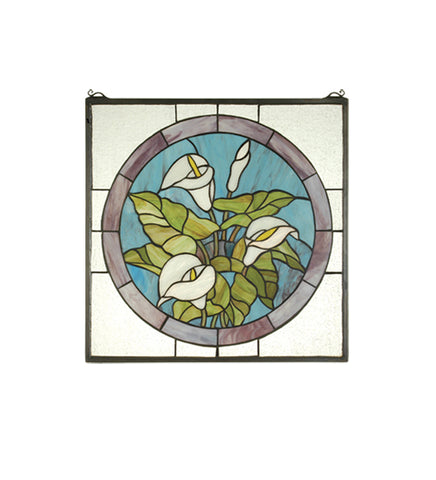 "20""W X 20""H Calla Lily Stained Glass Window"