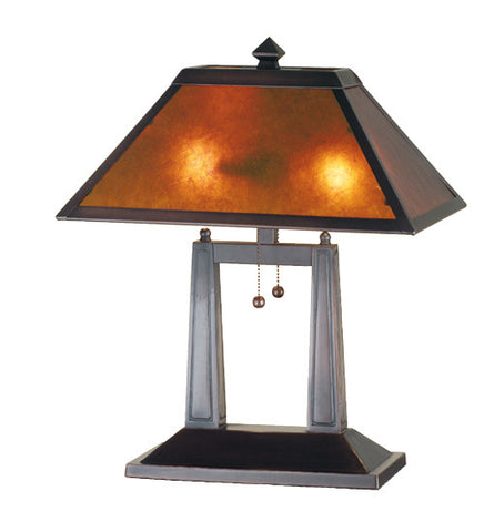 "20""H Van Erp Amber Mica Oblong Mission Desk Lamp"
