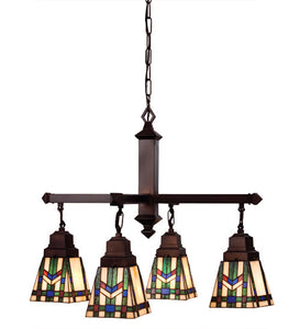 "26""W Prairie Wheat 4 Lt Tiffany Southwest Chandelier"