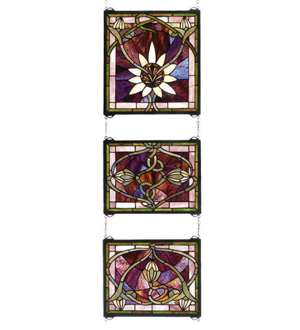 "14""W X 39""H Solstice 3 Piece Floral Stained Glass Window"