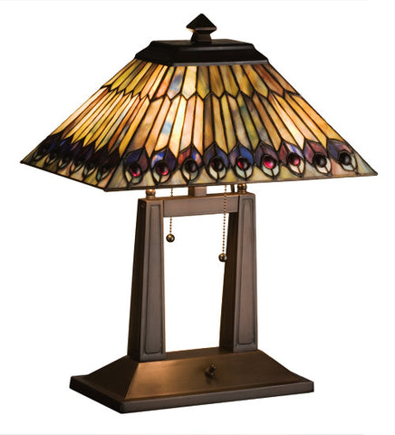"20""H Jeweled Peacock Tiffany Oblong Desk Lamp"