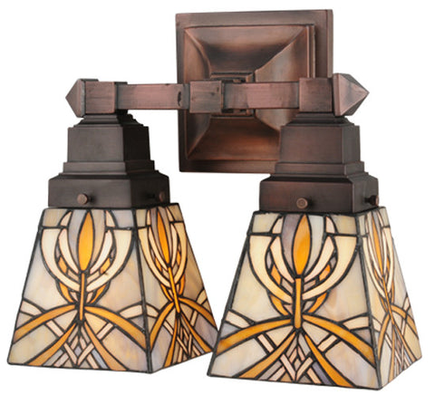 "12""W Glasgow Bungalow Tiffany 2 Lt Wall Sconce"